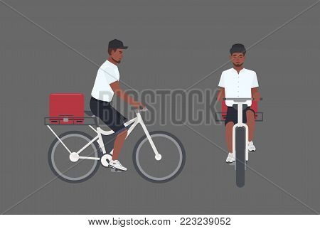 Smiling delivery man riding bicycle. Male cyclist delivering parcel. Courier boy in cap pedal modern bike isolated on white background. Front and side views. Vector illustration in flat cartoon style
