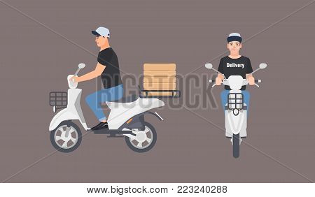 Delivery guy dressed in uniform riding scooter. Courier boy in cap sitting on modern motor moped isolated on white background. Front and side views. Colorful vector illustration in flat cartoon style