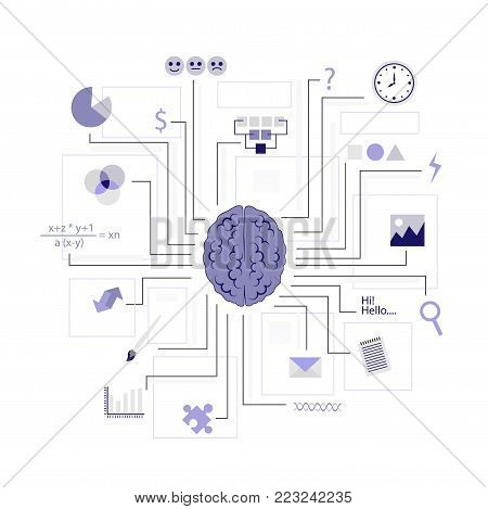 Function of the brain. Artificial intelligence. Vector