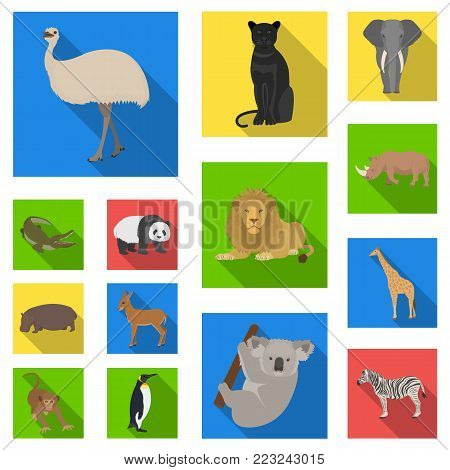 Different animals flat icons in set collection for design. Bird, predator and herbivore vector symbol stock  illustration.