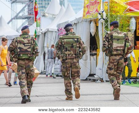 La Defense, France - July 17 2016: French Military Patrol Assigned To The Surveillance Of A Business