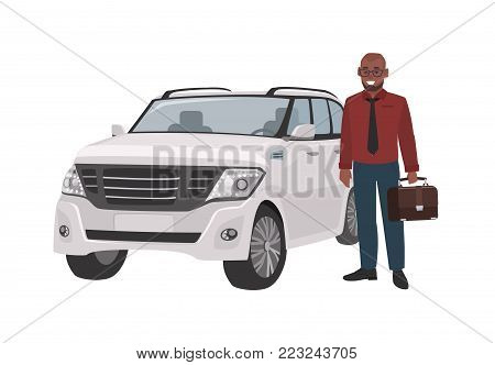 Smiling man dressed in business clothes and holding briefcase standing beside luxury car. Successful businessman and his automobile. Male flat cartoon character. Colorful vector illustration