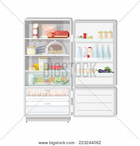 Modern opened refrigerator full of various food - fruits and vegetables, meat and dairy products, desserts, daily meals. Content of fridge with freezer. Colorful vector illustration in flat style