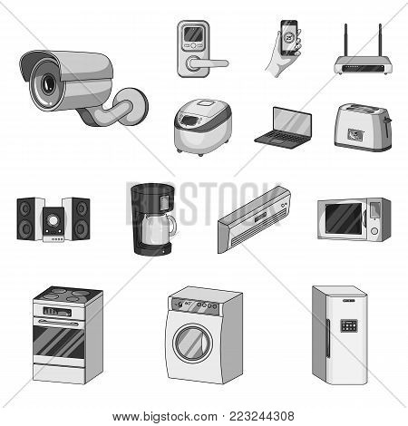 Smart home appliances monochrome icons in set collection for design. Modern household appliances vector symbol stock illustration.