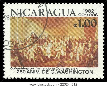 Nicaragua - circa 1982: Stamp printed by Nicaragua, Color edition on 250th Aniversary of George Washington, shows Signing the Constitution, circa 1982
