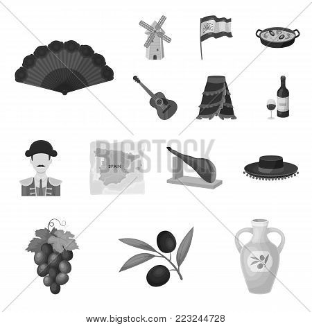 Spain country monochrome icons in set collection for design.Travel and attractions vector symbol stock  illustration.