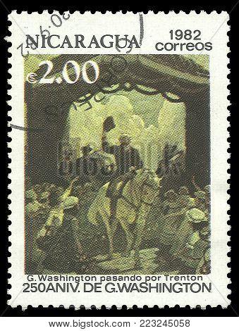 Nicaragua - circa 1982: Stamp printed by Nicaragua, Color edition on 250th Aniversary of George Washington, shows Passing through Trenton, circa 1982
