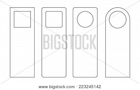Set of unique door hangers isolated on white background with trendy line style. Door hanger mockup. Vector illustration