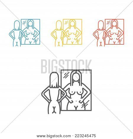 Anorexia. Line icon. Vector sign for web graphic