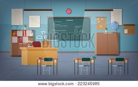 Empty school classroom with green chalkboard, pendant lights, various educational materials, desks, chairs and other furnishings for teacher and students. Colored vector illustration in flat style