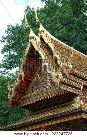 Roof of the traditional authentic Siamese temple in Bad Homburg, Germany. The Siamese king Chulalongkorn gifted at the end of 1910 this temple, which was made in Bangkok, to the German town.