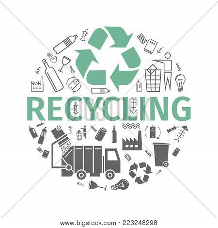 Recycling banner. Line and flat icons. Waste sorting set. Vector signs for web graphics.
