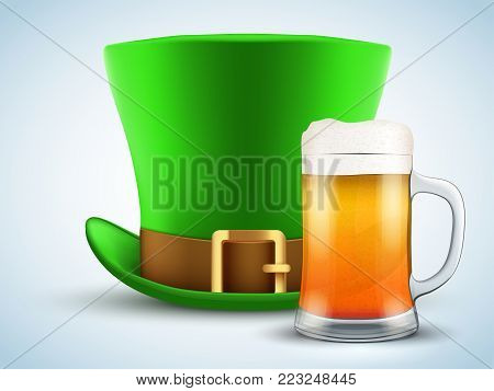 St. Patrick green hat with beer mug. Design Element for Saint Patricks day. Symbol of Irish holiday. Vector illustration isolated on white background.