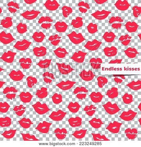 Pink lips seamless pattern on a transparent background.Vector female lips.Colorful illustration, Creative backdrop.Fashion stylish wallpaper.Trendy and glamour design in vogue style.Bright repeat print