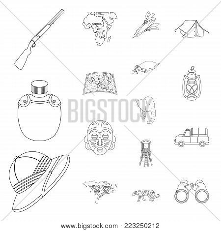 African Safari outline icons in set collection for design. Trophies and equipment for Safari vector symbol stock  illustration.