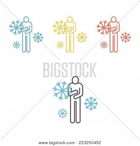 The man froze. Vector sign for web graphic.