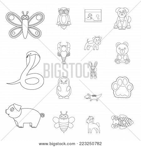 An unrealistic outline animal icons in set collection for design. Toy animals vector symbol stock illustration.