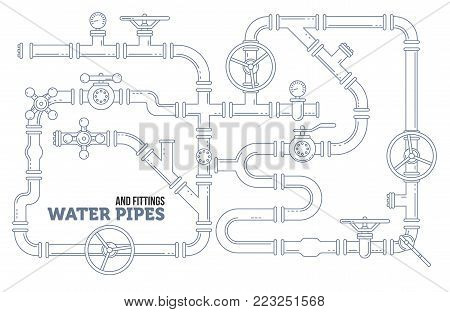 Elements of a plumbing. Pipes, cranes. Linear design Vector illustration