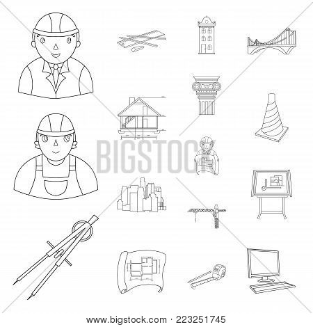 Architecture and construction outline icons in set collection for design. Architect and equipment vector symbol stock  illustration.