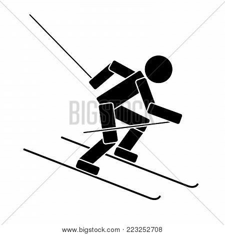 Alpine skiing. Flat icon on white background. Vector illustration
