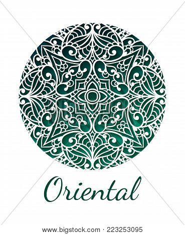 Oriental mandala design. Vintage ornament. Oriental tribal Layout. Islam, Arabic, Indian, ottoman motifs. Ethnic medallion element Lace pattern