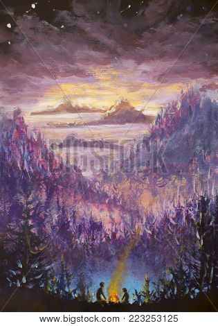 Painting of violet mountains and islands, vegetation, dawn, abstract landscape, mystical nature, post-apocalypse, sunset illustration for book, fairy tale art