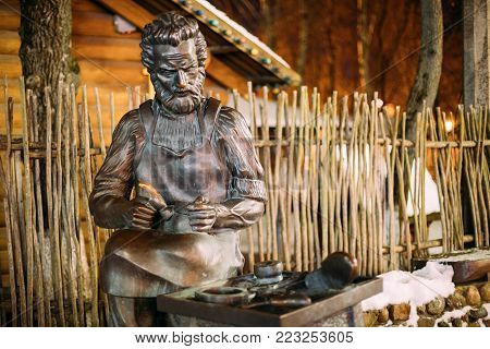 Vitebsk, Belarus - February 14, 2017: Sculpture Of Saint Crispino Is Catholic Patron Of Shoemakers.