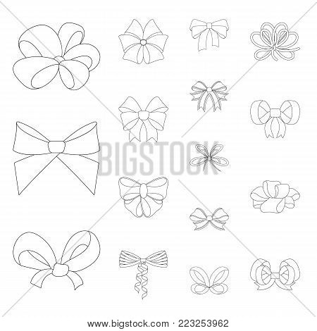 Multicolored bows outline icons in set collection for design.Bow for decoration vector symbol stock  illustration.