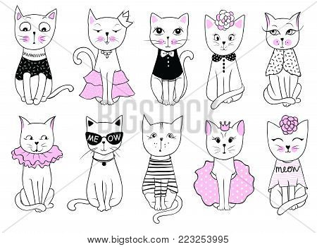 Big Vector series with cute fashion cats. Stylish kitten set. Trendy illustration in sketch style  t-shirt print, cards, poster. Doodle Kitty. Kids animals. Funny character.
