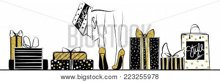 Vector girl in gold high heels surrounded by shopping bags, gift boxes.Fashion illustration.Female legs in shoes.Glitter Design for sale, discount, advertising, store.Vogue style.Women with packages.