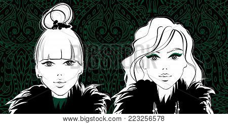 Vector Fashion girls. Woman face. Beautiful ladies. Cute and young model portrait.  Beauty visage. Vogue style. Trendy design.