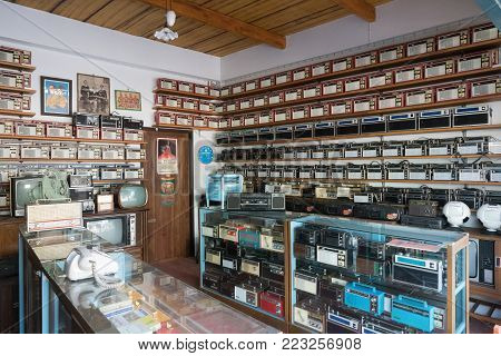 Bangkok, Thailand - Jan 14, 2018: Old Vintage Different Radios, Television And Electronic In Antique