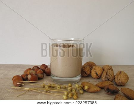 Homemade low carb protein shake with nut flour and flaxseeds