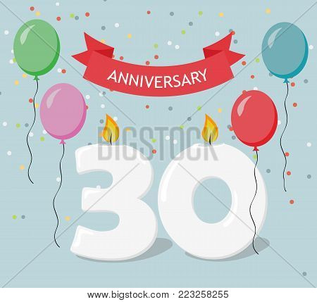 Thirty years anniversary greeting card with candels, confetti and balloons