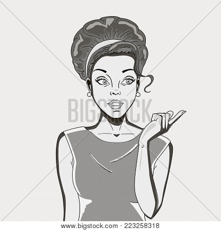 Surprised young sexy woman with open mouth. On white background. Comic woman. Vector black and white pencil. Shades of gray, face, 1960s, comic, love style elegant 1990s