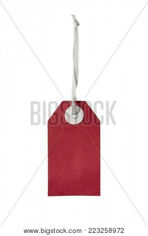 red blank gift tag isolated on white background