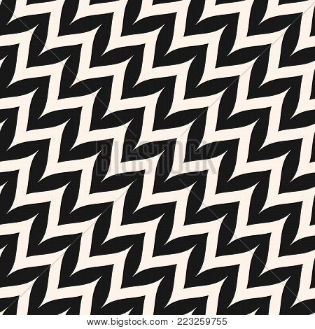 Vector zigzag chevron seamless pattern. Diagonal curved wavy zig zag lines. Simple stylish abstract geometric background. Black & White striped texture. Modern design for decor, fabric, furniture. Zig zag background.