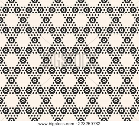 Vector geometric hexagon seamless pattern. Black and white honeycomb texture with small hex shapes in hexagonal grid. Simple modern abstract monochrome hexagonal background. Design for prints, decoration, gift paper, textile, cloth, wrapping