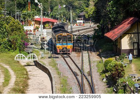 Khun Tan Railway Station, Lamphun of Thailand: December 23, 2017: - The Train leaving the railway station to go to the next station
