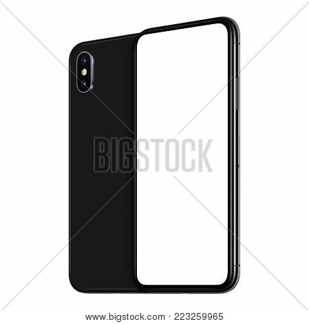Rotated smartphones similar to iPhone X mockup front and back side. New modern black frameless smartphone mockup with blank white screen and back side one behind the other. Isolated on white background. 3D illustration.