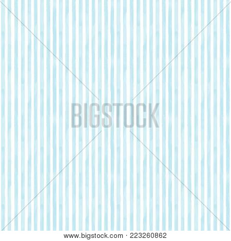 Seamless pattern with blue stripes. Watercolor hand drawn white and blue background. Wallpaper, wrapping, textile, fabric