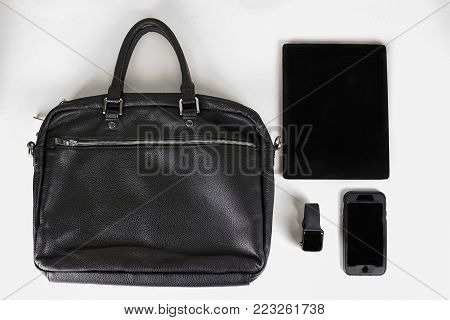 men's accessories for work and business on a white background