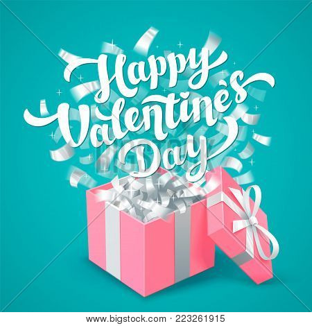 Sant Valentines Day greeting card. White Happy Valentines day lettering and pink Gift box color with silver confetti hearts on aqua blue background. Vector illustration