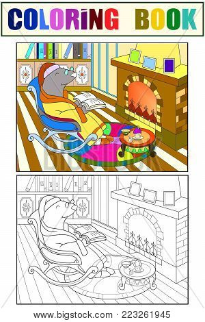 Grandpa Mole in his own house in the library dozens of coloring book vector. Color, Black and white interior of animals