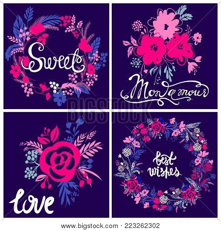 Vector kit of greeting card. My love, sweet, best wishes. Colorful floral design. Cute composition with abstract blooming elements. Best collection for Valentines day, Happy Birthday.