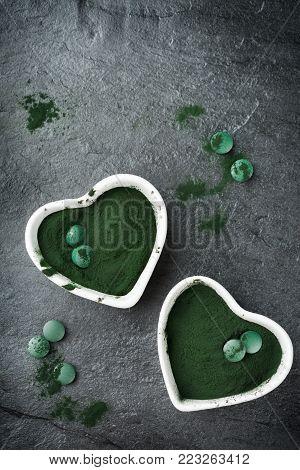 Superfood Concept Ground Green Spirulina Algae Powder