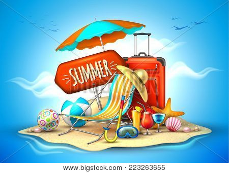 Summer vacation, beach party realistic 3d poster. Travelling tourism holiday time illustration lounger, sunshade ball cocktail starfish bag hat scuba diving mask bag sand island ocean sea background