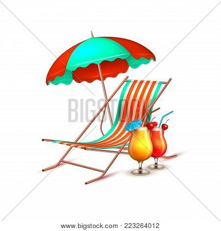 Summer vacation, beach party realistic 3d objects isolated. Travelling tourism holiday time illustration sunny lounger, sunshade parasol umbrella cocktail white background, paradise resort concept