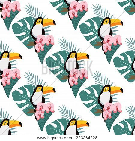pattern with tropical composition of leaves, flowers and toucan on white background