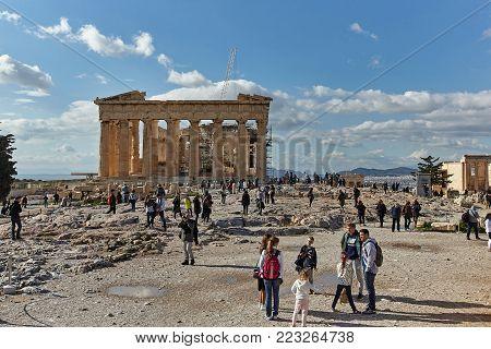 ATHENS, GREECE - JANUARY 03, 2018:Parthenonas in Akropolis, Athens,Greece.